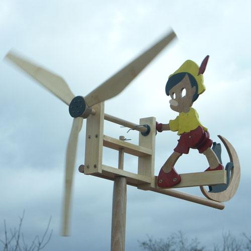 Girouette bois Pinocchio par Roland Dutoya